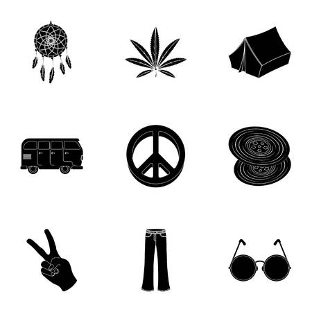 platinum: Bird, hemp, leaf and other hippy equipment. Hippy set collection icons in black style vector symbol stock illustration.