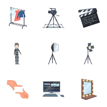 hangers: A movie camera, a floodlight, a chromakey and other equipment for the cinema.Making movie set collection icons in cartoon style vector symbol stock illustration web. Illustration