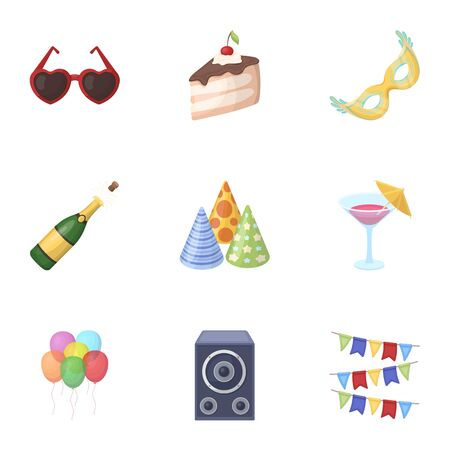 Champagne, firecrackers, cake items for the holiday.Party And Parties set collection icons in cartoon style vector symbol stock illustration web.