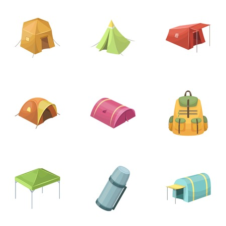 mattress: Various kinds of tents and other tourist accessories. The tent set collection icons in cartoon style vector symbol stock illustration web.