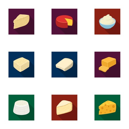 チーズの種類。チーズの種類は、フラット スタイル ベクトル シンボル ストック イラスト web コレクションのアイコンを設定します。 写真素材 - 84290429