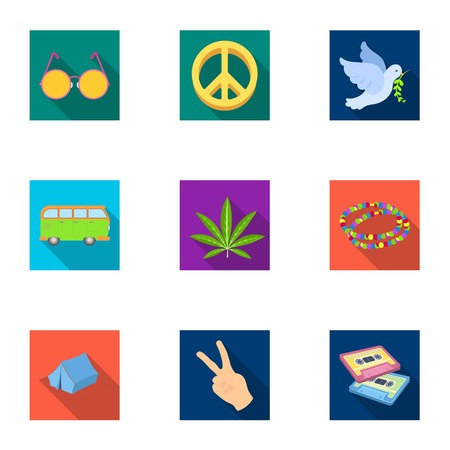 platinum: Bird, hemp, leaf and other hippy equipment. Hippy set collection icons in flat style vector symbol stock illustration web. Illustration