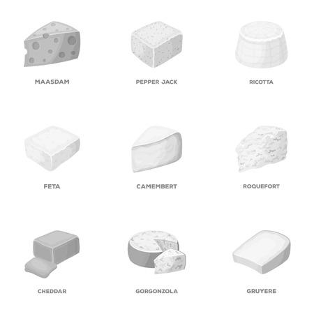 チーズの種類。チーズの種類は、モノクロ スタイル ベクトル シンボル ストック イラスト web コレクションのアイコンを設定します。 写真素材 - 84290581