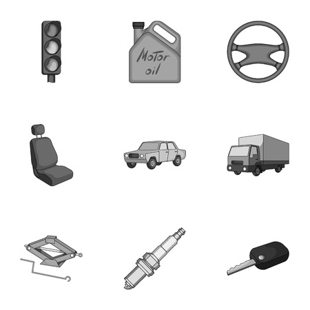 motor car candles: Wheel, wrench, jack and other equipment. Car set collection icons in monochrome style vector symbol stock illustration .