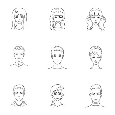 simple girl: Set of different avatars girls and men. Avatar and face icon in set collection on outline style vector symbol stock illustration.