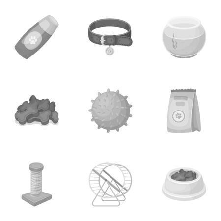 carding: Collar, pet food and other products. Pet shop set collection icons in monochrome style vector symbol stock illustration .