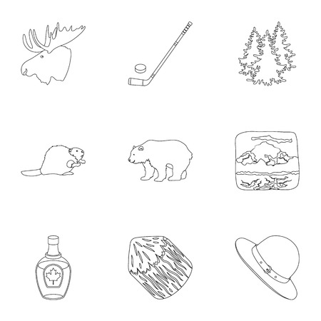 handgrip: Wild animal, deer, horns and other Canada elements. Canada set collection icons in outline style vector symbol stock illustration web.