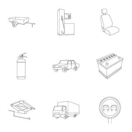 motor car candles: Wheel, wrench, jack and other equipment. Car set collection icons in outline style vector symbol stock illustration web.