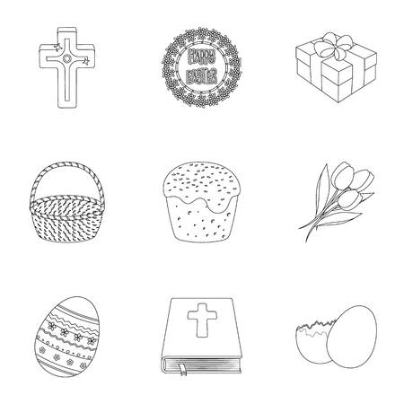 gift basket: Easter cake, egg, chicken, rabbit, butterfly and other attributes. Easter set collection icons in outline style vector symbol stock illustration .
