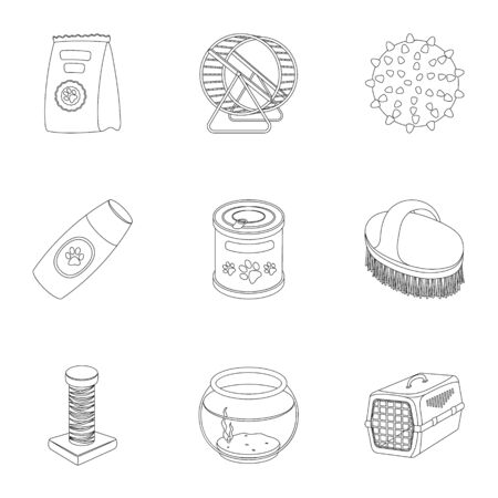 carding: Collar, pet food and other products. Pet shop set collection icons in outline style vector symbol stock illustration . Illustration