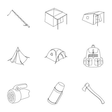 Various kinds of tents and other tourist accessories. The tent set collection icons in outline style vector symbol stock illustration web.