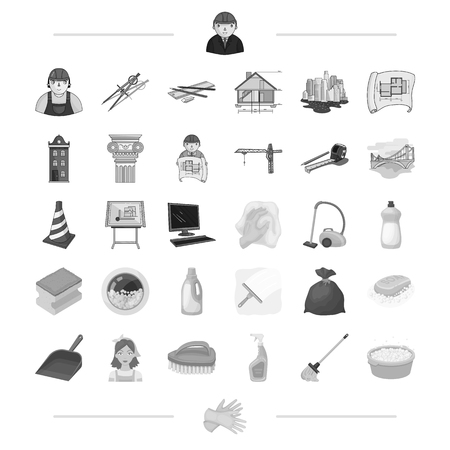 Architecture, construction and other web icon in monochrome style. Cleaning, cleanliness, garbage, washing icons in set collection. Illustration