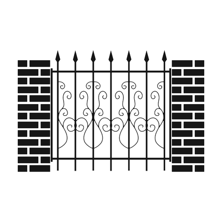 A fence of metal and bricks. A different fence single icon in black style vector symbol stock illustration web. Illustration