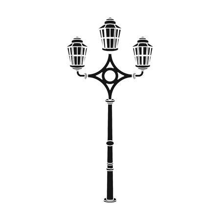 Street lights in retro style. Lamppost single icon in black style vector symbol stock illustration web.