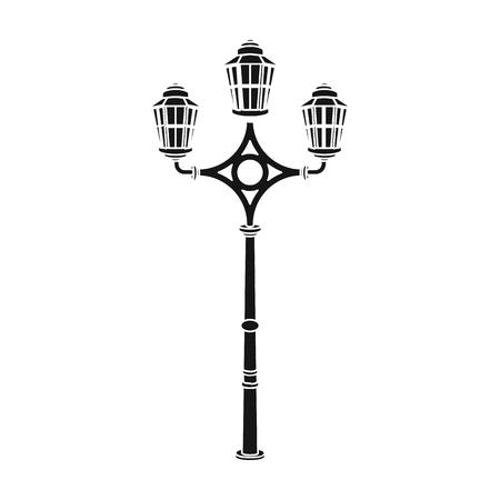 plafond: Street lights in retro style. Lamppost single icon in black style vector symbol stock illustration web.