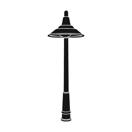 Lamppost with a conic bubble.Lamppost single icon in black style vector symbol stock illustration web. Çizim