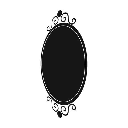 An elegant, oval-shaped mirror. Interior single icon in black style Isometric vector symbol stock illustration web. Illustration