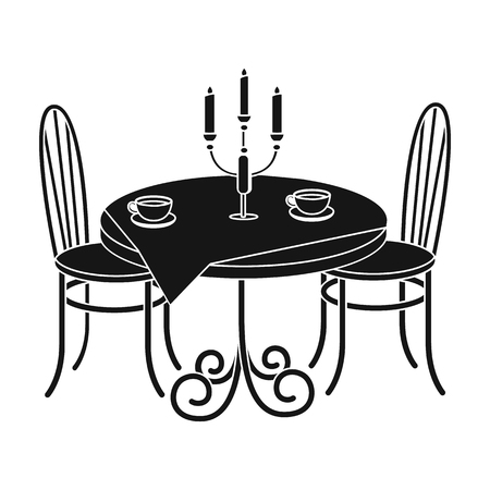 Served table in the restaurant. Furniture single icon in black style Isometric vector symbol stock illustration web.
