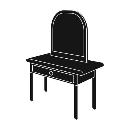 Toilettafel met spiegel. Meubilair en interieur één pictogram in zwarte stijl Isometrische vector symbool stock illustratie web.