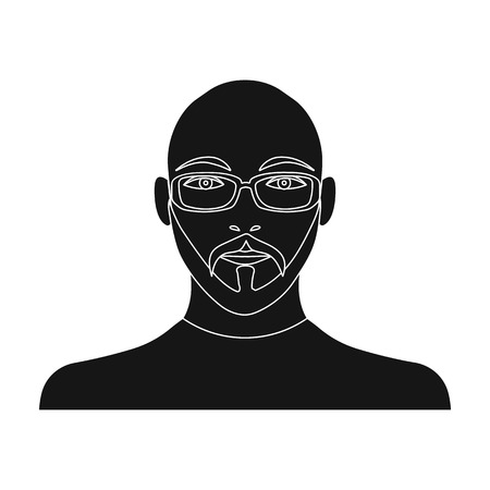 The face of a bald man with a mustache in glasses. Face and appearance single icon in black style vector symbol stock illustration web.