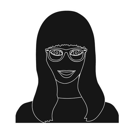 The girls face is wearing glasses. Face and appearance single icon in black style vector symbol stock illustration web.