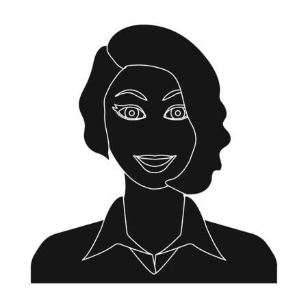 The face of a woman with a hairdo. Face and appearance single icon in black style vector symbol stock illustration web. Illustration