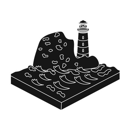 Mountains, lighthouse and Sea . Relief and mountains single icon in black style isometric vector symbol stock illustration web.