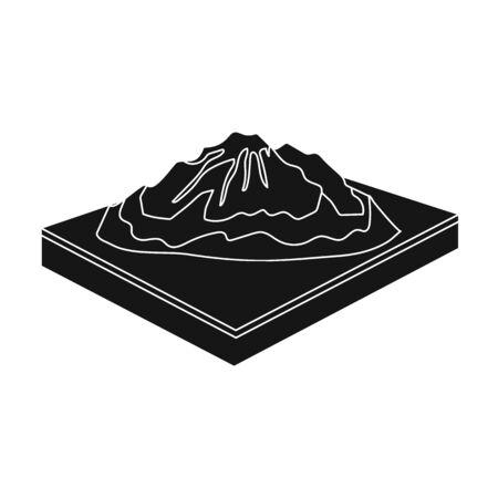 relievo: Mountains, rocks and landscape. Relief and mountains single icon in black style isometric vector symbol stock illustration web. Illustration