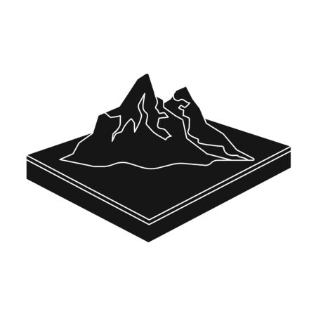 Mountains, rocks and landscape. Relief and mountains single icon in black style isometric vector symbol stock illustration web. Illusztráció