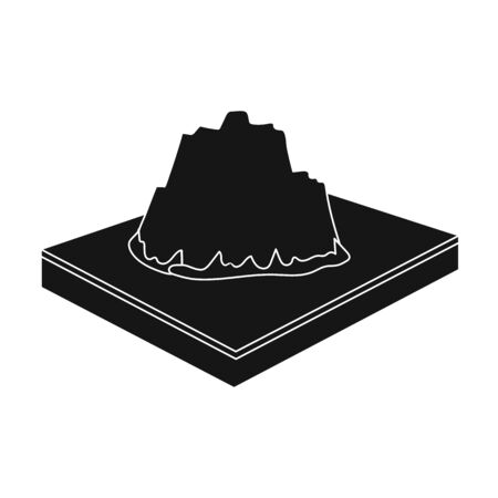 Mountains, rocks and landscape. Relief and mountains single icon in black style isometric vector symbol stock illustration web. Illustration