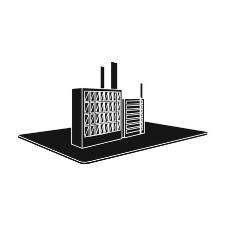 Verwerking fabriek. Fabriek en industrie enig pictogram in het zwarte Web van de de voorraadillustratie van de stijl isometrische vector.