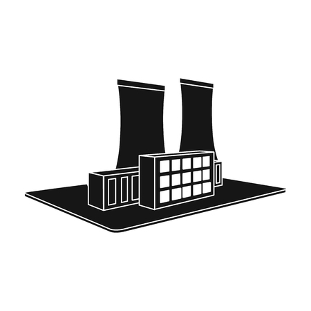 Metallurgical plant. Factory and industry single icon in black style isometric vector symbol stock illustration web. Фото со стока - 84350848