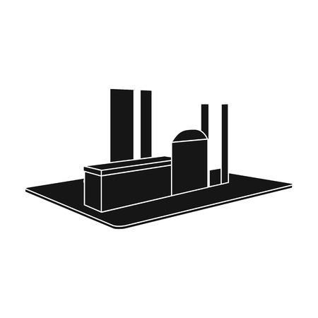 Verwerking fabriek. Fabriek en industrie enig pictogram in het zwarte Web van de de voorraadillustratie van de stijl isometrische vector. Stockfoto - 84350852