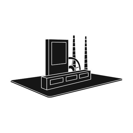 Verwerking fabriek. Fabriek en industrie enig pictogram in het zwarte Web van de de voorraadillustratie van de stijl isometrische vector. Vector Illustratie