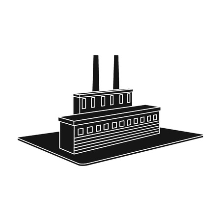 Processing factory. Factory and industry single icon in black style isometric vector symbol stock illustration web.