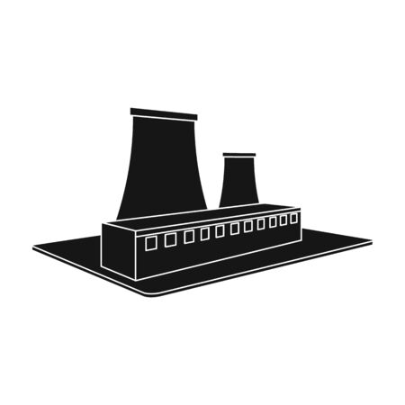 Metallurgical plant. Factory and industry single icon in black style isometric vector symbol stock illustration web.