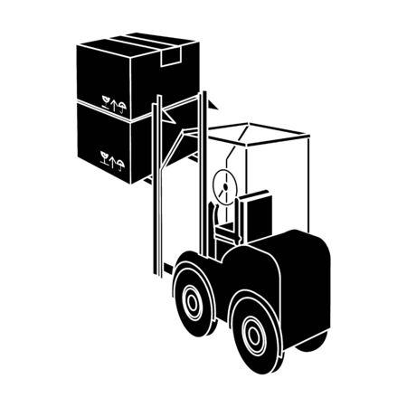 ローダーによる貨物の輸送。黒のスタイル等尺性のベクトル シンボル ストック イラスト web での輸送・搬出入の 1 つのアイコン。
