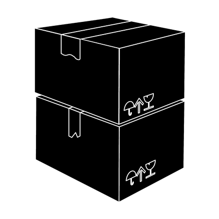 Packaged boxes with goods. Logistics delivery single icon in black style isometric vector symbol stock illustration web.