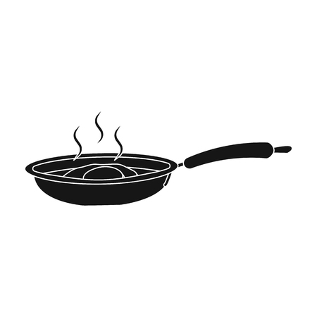 Frying pan, single icon in blakck style.Frying pan vector symbol stock illustration web.