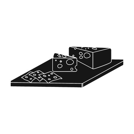 Cheese, single icon in blakck style.Cheese vector symbol stock illustration web. Иллюстрация