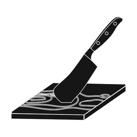 Tabla y cuchilla para el procesamiento de alimentos. Alimentos y la cocina icono único en el estilo negro vector símbolo stock photography web. Foto de archivo - 84494188