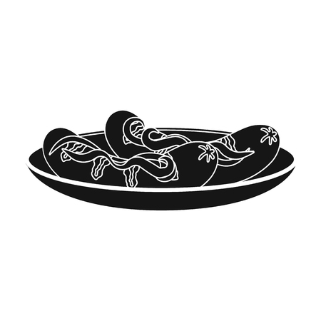 Tasty food, fried sausages. Eating and cooking single icon in black style vector symbol stock illustration web.
