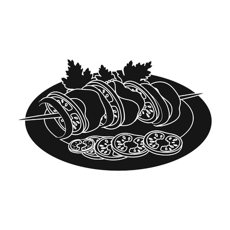 onion rings: Delicious food, shish kebab and salad. Food and cooking single icon in black style vector symbol stock illustration web. Illustration