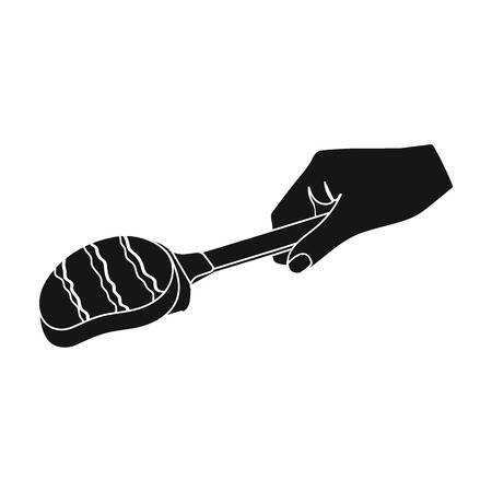 Fried piece of meat on the scapula. Food and cooking single icon in black style vector symbol stock illustration web. Çizim