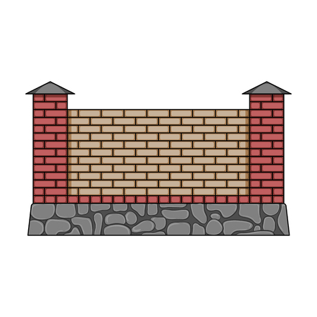 palisade: A fence of bricks. A different fence single icon in cartoon style vector symbol stock illustration web.