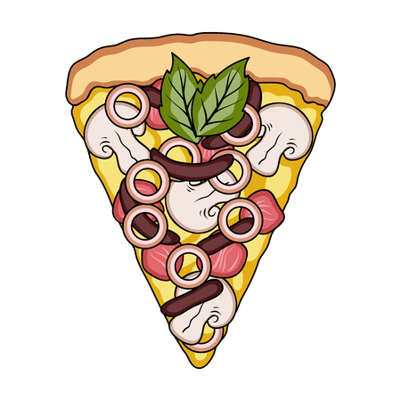 A slice of pizza with different ingredients. Different pizza single icon in cartoon style vector symbol stock illustration web.