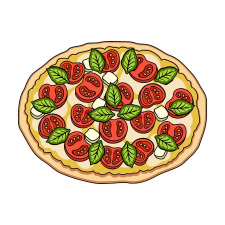 Pizza with meat, cheese and other filling. Different pizza single icon in cartoon style vector symbol stock illustration web. Иллюстрация