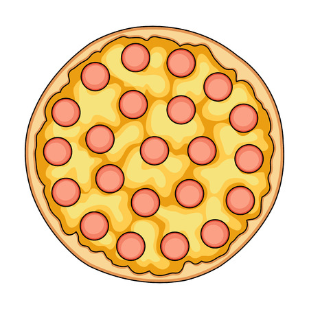 cartoon tomato: Pizza with meat, cheese and other filling. Different pizza single icon in cartoon style vector symbol stock illustration web. Illustration