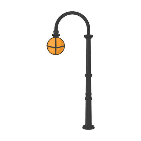 Street lights in retro style. Lamppost single icon in cartoon style vector symbol stock illustration web. Illustration
