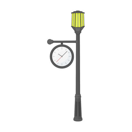Lamppost with a clock.Lamppost single icon in cartoon style vector symbol stock illustration web. Illustration